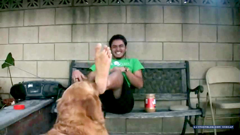 ticklish guy foot licked by dog