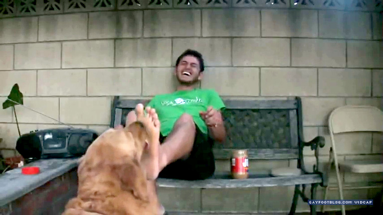 foot fetish lick by dog