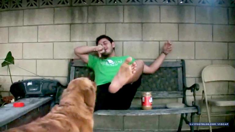 ticklish feet dog lick