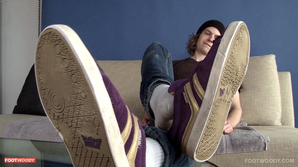 robbie's purple sneakers