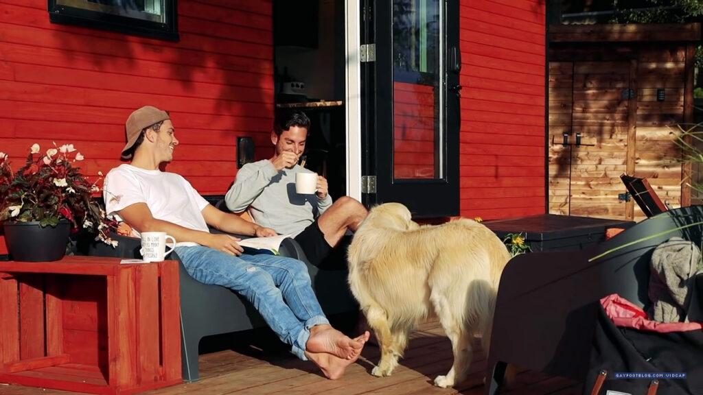 derek and jeffrey on the patio