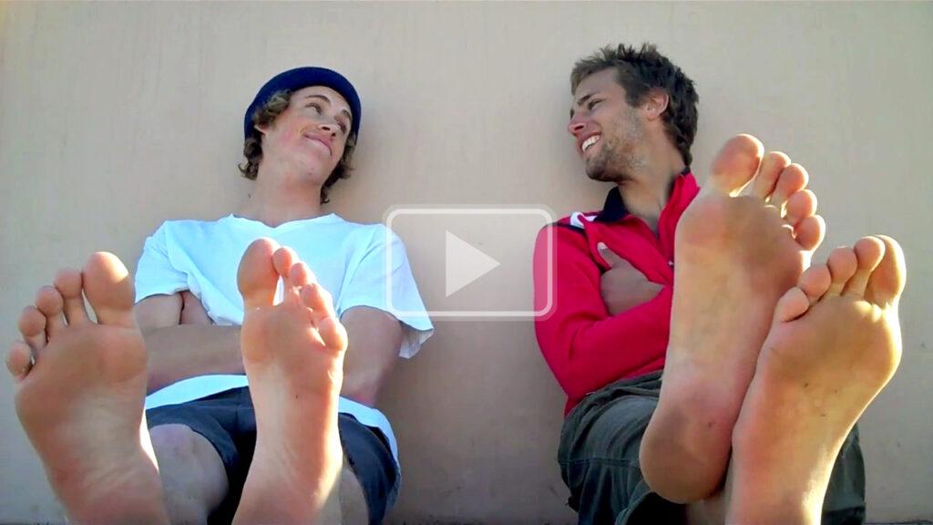 buddies air out their slightly dirty bare feet