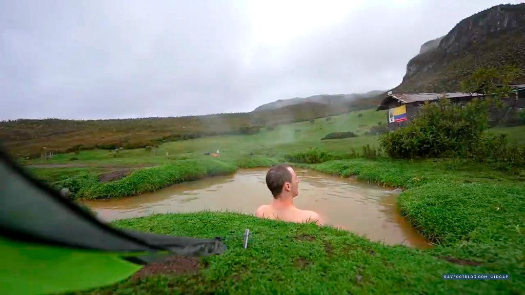enjoying the hot springs