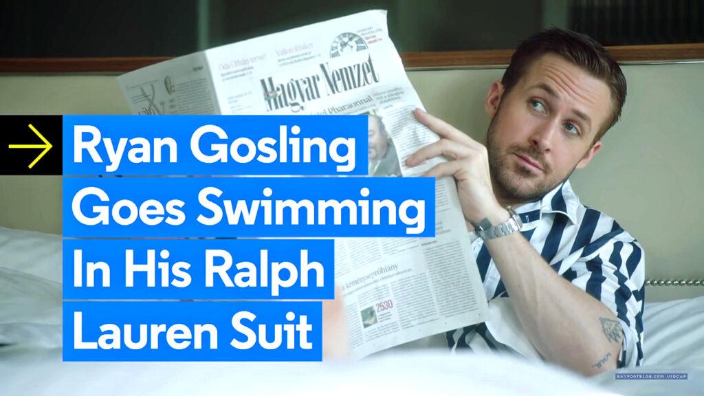 ryan gosling goes swimming in his ralph lauren suit