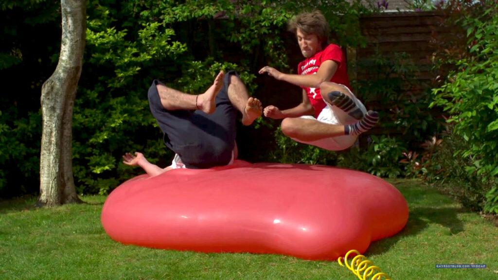 Gavin and George Jump on a Balloon